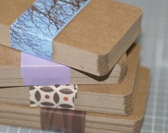 Kraft Business Card Blanks (50) ... Lightweight Chipboard Rounded Corners Kraft Recycled Cardstock Seller Supplies DIY Biz Cards Kraft Cards