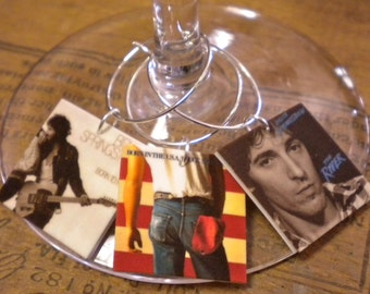 12 Bruce Springsteen Album Cover Wine Charms for the Music/Wine Lover 'YOUR wine glasses deserve COOL Sassy Jewelry' Fast Ship In Gift Tin!