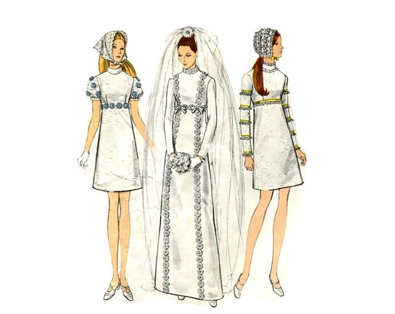 1960s vogue mod wedding dress pattern regency empire waist for Empire waist wedding dress patterns