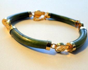 Jade Jadeite Bracelet Asian Symbol Link Filigree Bracelet