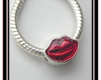 RED LIPS  - Silver Plated European Style Charm