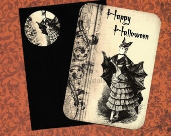 Halloween Cards & Stickers Bat Lady