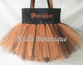 Monogrammed Orange and Black Sequins Trim Tutu Tote Bag - Halloween Trick or Treat Tutu Bag