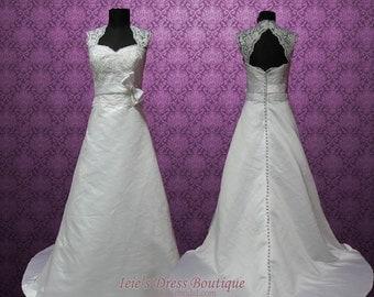 Vintage Style Cap Sleeves Keyhole A-line Lace Wedding Dress   Arlington