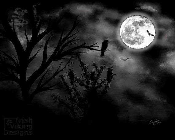 Items Similar To Mysterious Moon 8x10 Inch Art Print Goth Gothic Spooky Decor Full Raven Dark Night Home Nightspooky MoonHalloween