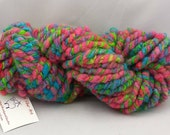 Ice Cream Truck: 30yds SUPER bulky Corespun and plied and wrapped art yarn in blue, green, pink, lime