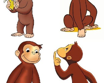 Lot Of 4 Curious George Fabric Panel Quilt Squares