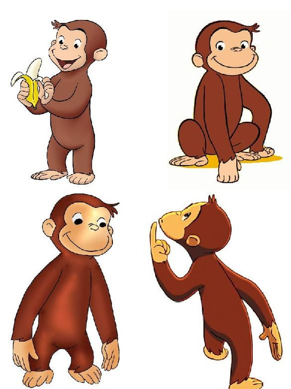 Lot Of 4 Curious George Fabric Panel Quilt Squares from ... : curious george quilt - Adamdwight.com