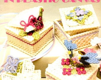 Keepsake Boxes Fan Flowers Butterfly Hearts Ring Box Jewelry Plastic Canvas Needlepoint Embroidery Craft Pattern Leaflet 1189 Leisure Arts