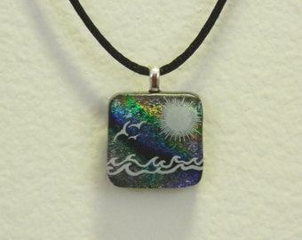 Dichroic Fused Glass Pendant, Surf and Sun