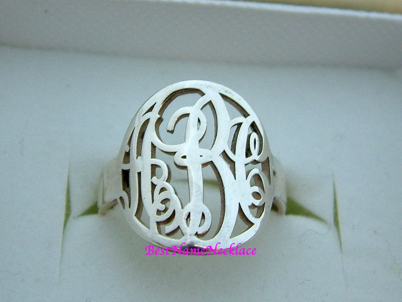 signet monogram ring sterling silver monogram ring custom