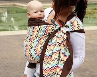 Baby Sling Prestige Ring Sling Baby Carrier - Rainbow Chevron - Pleated Shoulder for Comfort - Double Layer to be Strong and Supportive