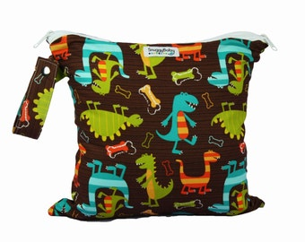 Wet/Dry Bag 2 Pocket Wet Bag with Waterproof Lining and Zipper Opening - Dino Dudes- FAST SHIPPING