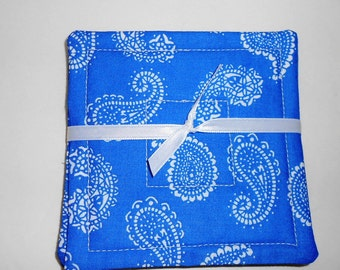 Quilted Coasters Set   Blue Paisley Fabric Reversible by SEW FUN QUILTS
