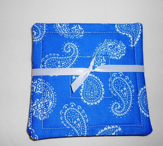 Quilted Fabric Blue Quilted Coaster...