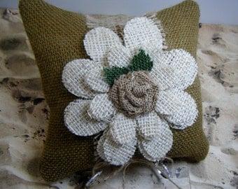 Burlap Flower Rose Wedding Ring Bearer Pillow