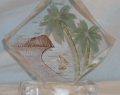 Vintage Reverse Carved Lucite Hawaii Hawaiian Paperweight