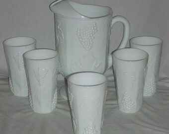 Indiana Colony Harvest Milk Glass Grapes Pitcher and Tumblers