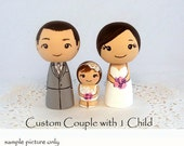 Wedding Cake Toppers 1 Child Customized Bride Groom Baby Cake Toppers Family Wood Kokeshi Dolls
