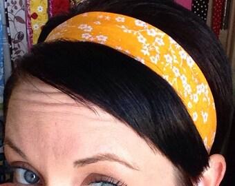 Bright Orange / Yellow Stay Put Headband w/ White Cherry Blossom Flowers
