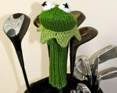 Kermit the Frog, Muppet, Golf Headcover, Golf Club Cover, Golf Head Cover, Knit Golf Club Cover, Knitted Golf Head Cover, Golf Gifts