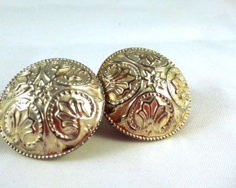 Vintage, Detailed and Ornate Silvery ClipOns : C69