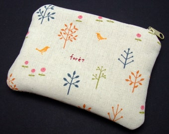 Little trees and birds - Zipper pouch / coin purse (padded) (ZS-114)