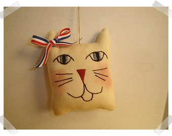 Cat Ornament/Hand Embroidered /Handmade**