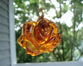 Autumn Rose Vintage Antique Rootbeer Amber Japan Flower Pendant Gold Necklace Nature Inspired