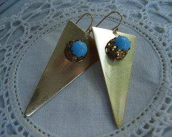 Vintage Art Deco Opaque Turquoise Glass on Gold Triangles Native Tribal Inspired Southwest