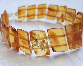 Charming Rich Honey Baltic Amber Parallelogram Beads Bracelet