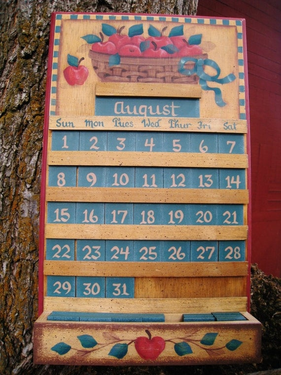 Apple wooden perpetual calendar kitchen decor home and living - Wooden perpetual wall calendar ...