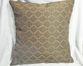 Pillow cover brown, pecan, copper, gold, trellis, red dots, home decor pillow, 18 inch custom