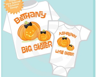 Set of Two Personalized Girls Big Sister and Little Sister Cute Pumpkin Halloween Shirt and Onesie set.