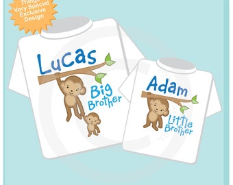 Big Brother Little Brother Shirt set of 2, Sibling Shirt, Personalized Tshirt with Cute Monkeys (12302013g1)