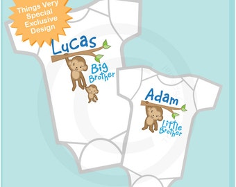 Big Brother Little Brother Onesie set of 2, Sibling Shirt, Personalized Tshirt with Cute Monkeys (12302013g2)