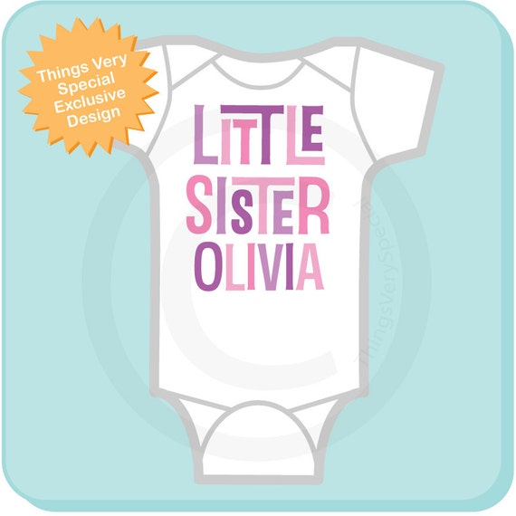 Personalized Little Sister Onesie or Tee Shirt (12082011c)