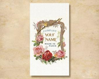 Custom Stickers - Product Labels - Vintage Labels - Authentic Vintage -  Floral, Flowers - L4