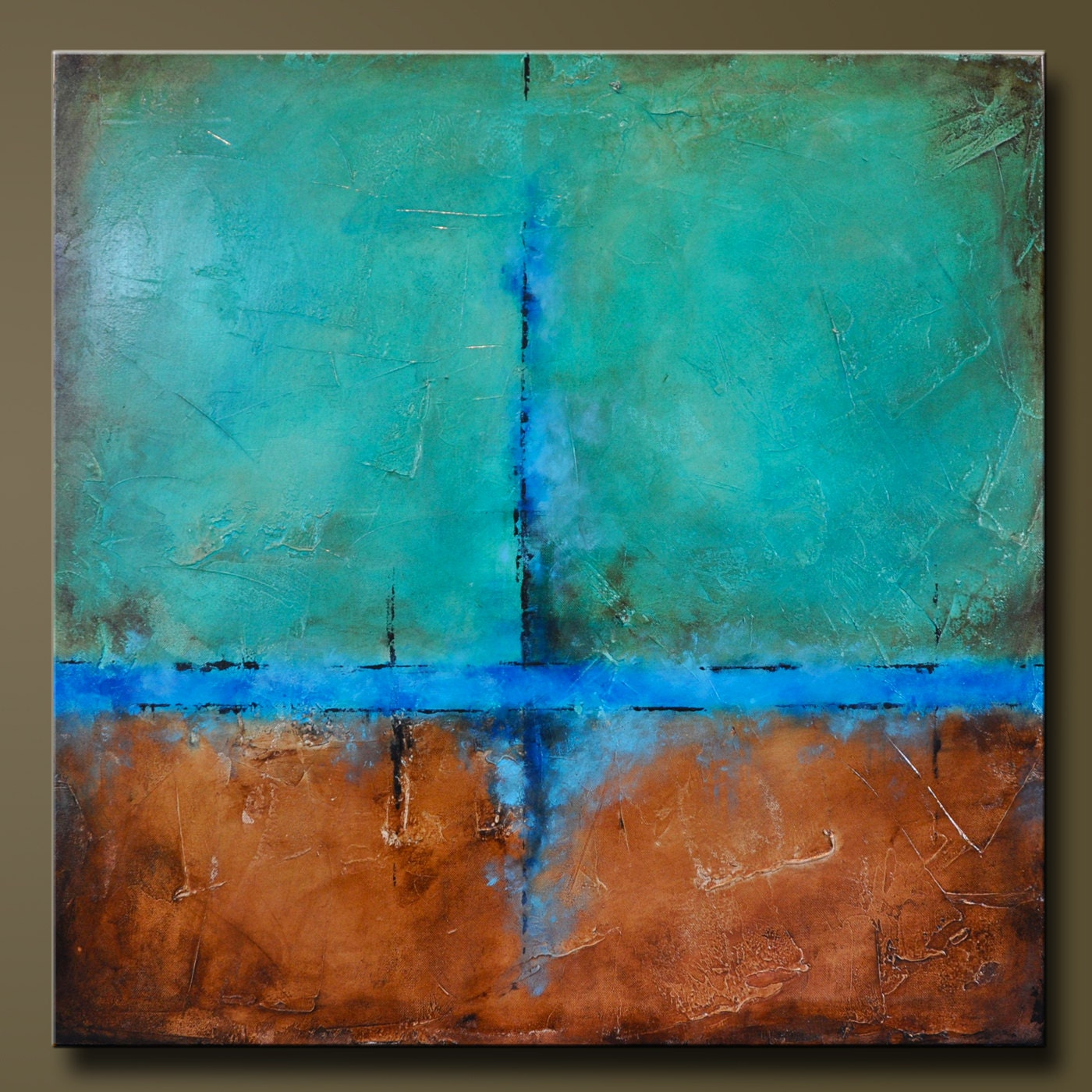 Copper Falls 2 30 x 30 Abstract Acrylic Painting Huge
