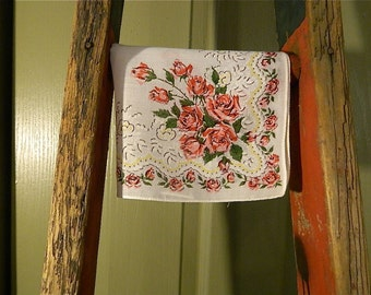 """Vintage Hankie/Hanky, Miss America Style Rose Bouquets and Rose Vining: """"Roses For Miss America"""""""
