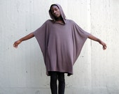 Avant Garde Poncho Cape Cloak with Hood - Mocha