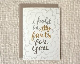 Funny Love Card, Anniversary Card, Love Card, Friendship Card - Farts