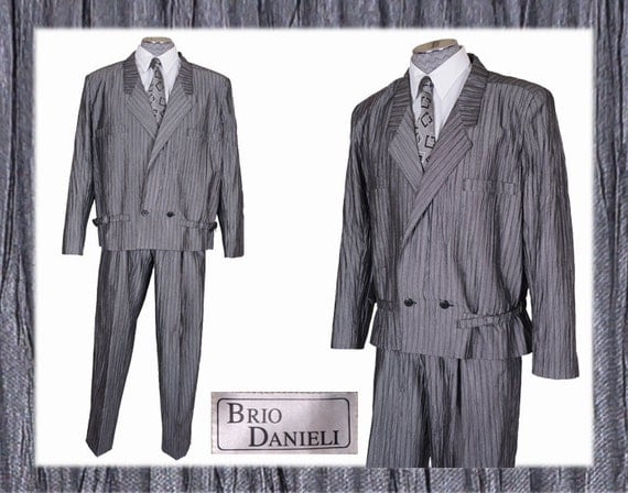 new wave style 80s fashion grey suit mens size small. Black Bedroom Furniture Sets. Home Design Ideas