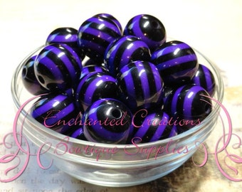 20mm Halloween Purple and Black Striped Beads Qty 10