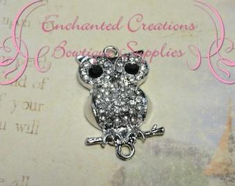 34mm x 20mm Silver Rhinestone Owl Jewelry Link