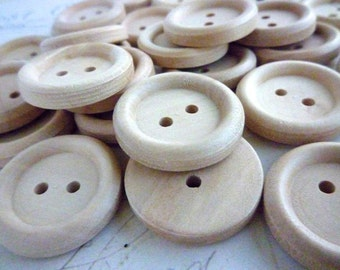 Wooden Buttons, 7/8 Inch Round Wood Buttons, Pack of 50