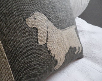 little charcoal  spaniel cushion