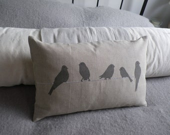 hand printed greys birds on a wire cushion cover