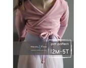 Ballet Sweater pattern and tutorial 12m - 5T PDF pattern  girl modern shrug, wrap bolero dance