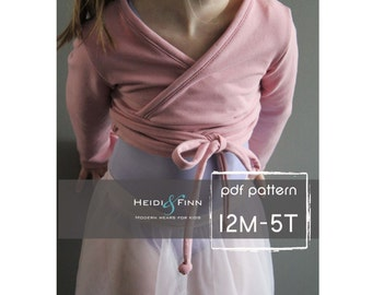Ballet Sweater pattern and tutorial 12m - 5T PDF pattern  girl modern shrug, wrap bolero dance